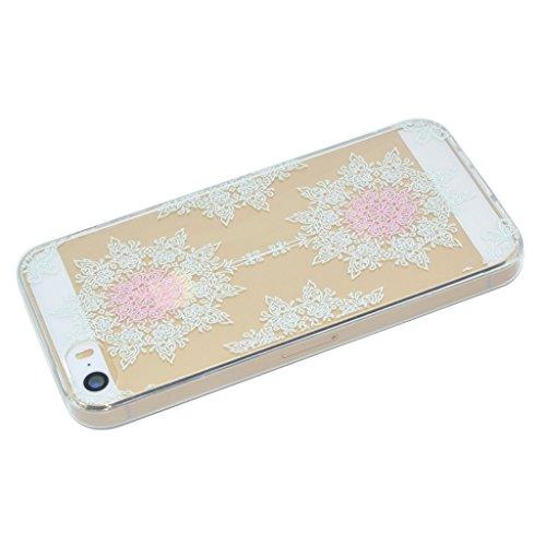 iPhone 5 5S SE Cover , YIGA Moda Verde Foglia di Albero Trasparente Silicone Morbido Dolce TPU Case Protezione Shell Custodia per Apple iPhone 5 5S SE XX30