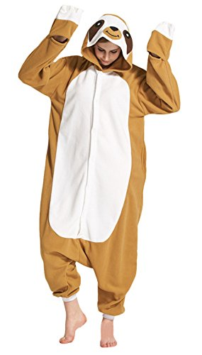 La vogue Tier Pyjama Jumpsuit Damen Erwachsene Animal Sleepwear Cosplay Tiere Fasching Karneval Type1 (Tier Faultier Kostüme)