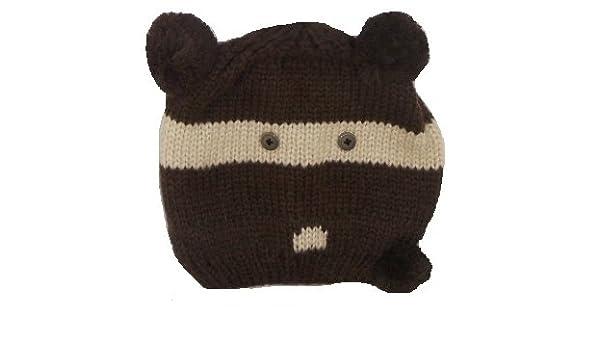 0267bd01236e Striped Teddy Bear Knit Beanie Winter Hat With Pom Pom Ears One Size ...