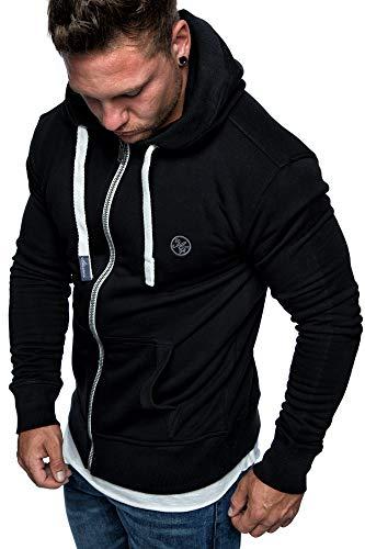 Amaci&Sons Herren Zipper Kapuzenpullover Sweatjacke Pullover Hoodie Sweatshirt 1-04029 Schwarz XXL Schwarz Zipper Hoodie