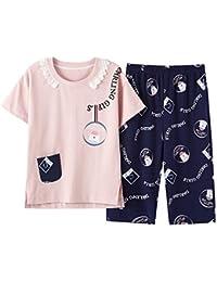 Meaeo New Pocket Lace Homewear Mujeres Niñas Pijamas De Algodón Conjunto De Pijama De Manga Corta