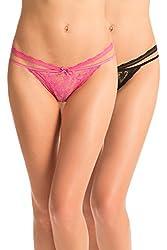 Prettysecrets Womens Cotton Bikini (PSS15BRDBKN2-3 _Black and Pink_XL)