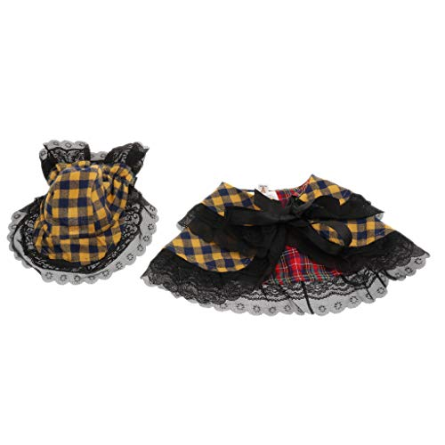 B Blesiya Hundekostüm Umhang und Kopfbedeckung Haustier Prinzessin Verkleidung Kostüm für Halloween Weihnachten Party - Gelb Blau, S