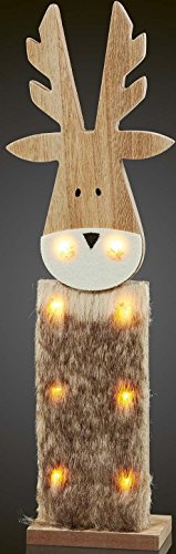 Hellum Glühlampenwerk LED-Rentier 522198 aus Holz m.Kunstfell Festbeleuchtung 4001233522198