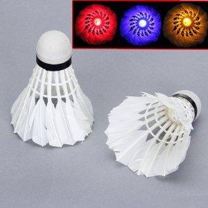 LED leuchten blinken Federball Badminton Gänsefeder*NEU*