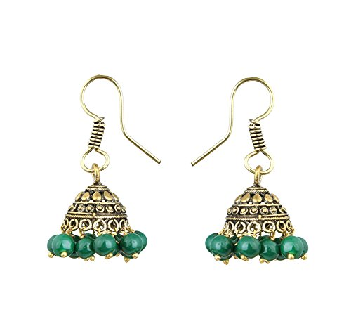 Waama Jewels Elegant Pair Of Fifteen Color Pearl Silver/Gold Plated Jhumki Earring For Party wear, Wedding & Winter Collection,South Indian Festival Pongal And makar sankranti Earrings (Gold_Green)  available at amazon for Rs.89