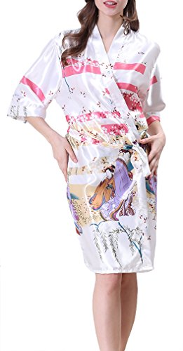 FLYCHEN Femme Kimono Beauté Robe de Chambre Exotique en Satin avec Manche 3/4 Blanc