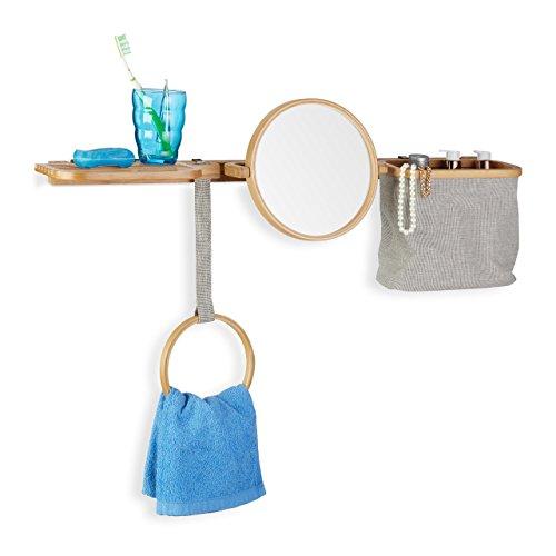 Relaxdays Estantería de Baño con Espejo y Cesta