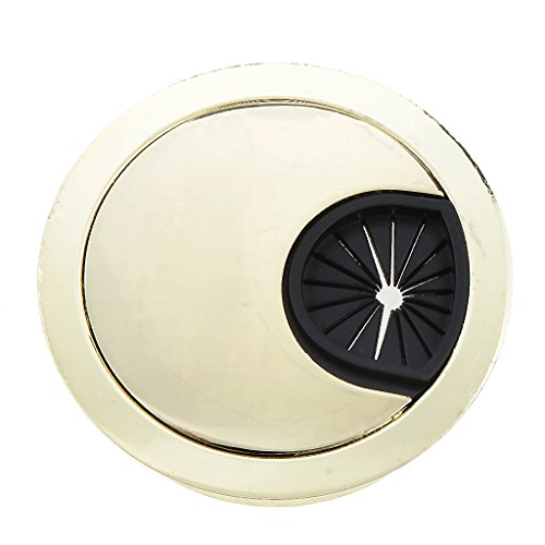 Phenovo Computer/TV Desk Table Metal Grommet Outlet Wire Cable Cover 53mm Golden  available at amazon for Rs.285