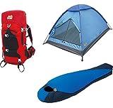 Alpinizmo High Peak USA Extreme Pak 0F Schlafsack 3Herren Zelt & 40Liter Wandern Pack, rot/blau, One size