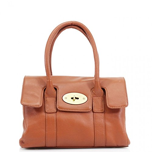 LeahWard® Real Leder Damen Große Größe Handtaschen Genuine Ledertasche Braun Leder H37cm x W28cm x D13cm