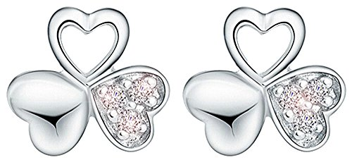 "Price comparison product image korpikus® Jewel Encrusted Crystal Rhinestone "" 3 Leaf Clover "" Small Silver Metal Earrings In FREE Organza Gift Bag!"