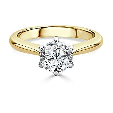 Forever Diamond - 14K Yellow Gold 14K Gelbgold Rundschliff Hochfeines Weiß +/River (D) Diamant