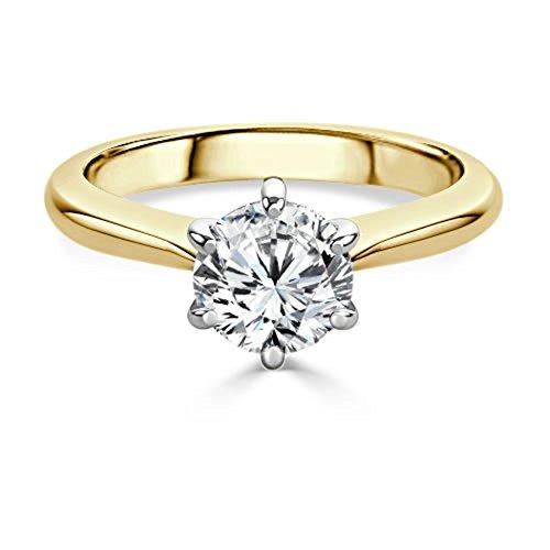 2,00ct Runde Schnitt Diamant Engagement Hochzeit Ring 18K Solid Gelb Gold Größe I, J, K L M N O P Q R