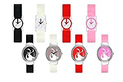 RJL Analogue Round Dial Stylish Fancy Watch Pack of 8