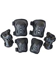 Eruner - Protectores de patinaje para muñecas, codos y rodillas para niños de 3 a 9 años (Pack de 6), negro - negro