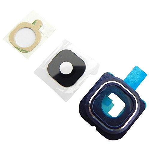 Samsung Galaxy S6 EDGE G925F Kamera Glas Abdeckung Premium (echt Glass) Linse + Rahmen + Klebepad Komplett 3in1 Blau - ToKa-Versand®
