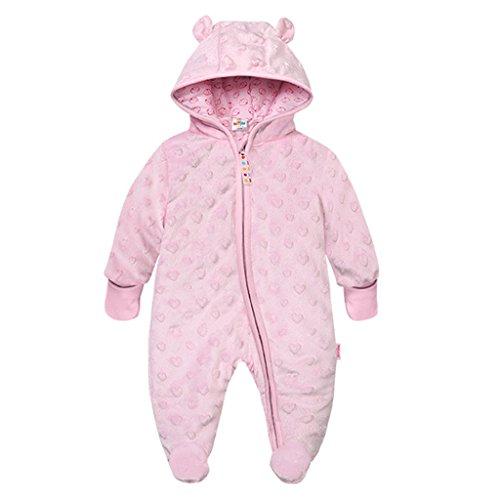 Baby Winter Fleece Overall mit Kapuze Schneeanzüge Footed Strampler Spielanzug Jumpsuit, Rosa 6-9 Monate