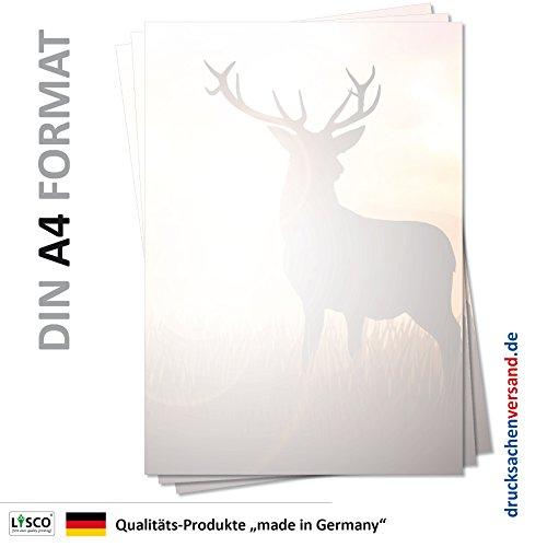 LYSCO Motiv Briefpapier (Tiere-5122, DIN A4, 25 Blatt) Hirsche Briefpapier Tiere Wild Rehe Wiese Wald Motivpapier