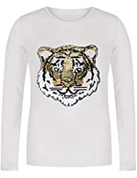 Lentejuela, cara de tigre, camiseta para niñas, Manga Larga