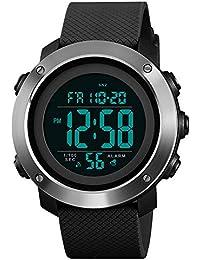 Reloj deportivo para hombres Reloj digital con pantalla grande LED Retroiluminación facial militar Impermeable Anillo de