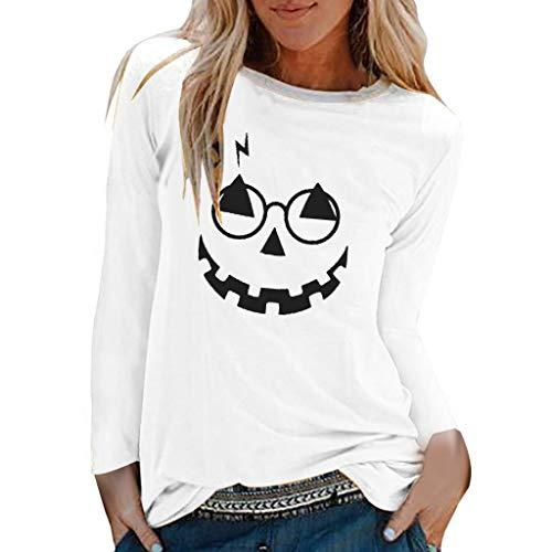 GOKOMO Halloween Costume Pullover Damen schwarz dünn lang Tops Für Damen Halloween Print Shirts O-Ausschnitt Langarm Top Lose T-Shirt Bluse(Weiß-F,X-Large) -