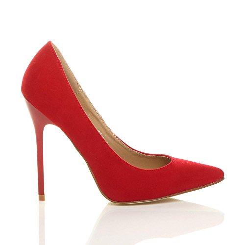 Donna tacco alto lavoro festa elegante scarpe de moda décolleté a punta taglia Rosso scamosciata