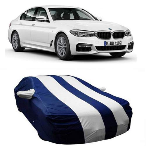 DRIZE Car Cover for BMW 520D with Triple Stitched Fully Elastic Ultra Surface Body Protection (Strips White with Mirror Pockets)