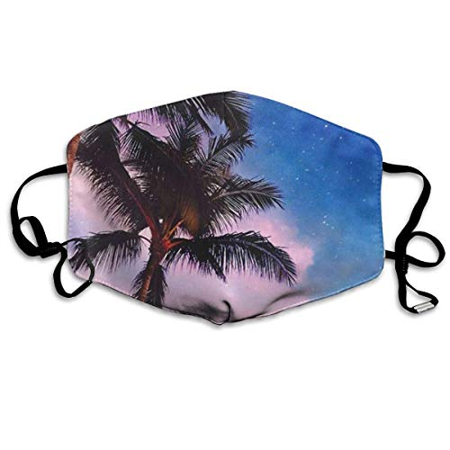 liang4268 Mundmasken Coconut Tree Fashion Earloop Face Masks Anti-Dust Anti Flu Pollenm Germs Bacteria Virus Smog Face and Nose Cover with Adjustable Elastic Strap Medical Mask
