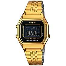 Casio LA680WEGA-1BER - Reloj digital de cuarzo para mujer con correa de acero inoxidable, color dorado