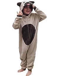 Wunsy Childrens Boys and Girls Onesie Fluffy Fleece MONKEY PUG UNICORN SHEEP CAT PUPPY FOX TEDDY BEAR REINDEER GORILLA DINOSAUR or Rabbit in Kids Age 2-13 years