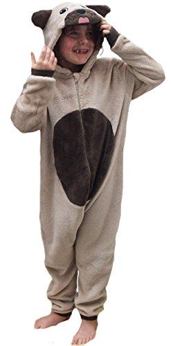 Kinder Jungen Mädchen Strampelanzug Schlafoveralls Tier Overall flauschig Fleece Jumpsuits Mops Teddybär Affe Dalmatiner Schaf Gorilla - Alter 2-13 Jahre, 3-4 Mops