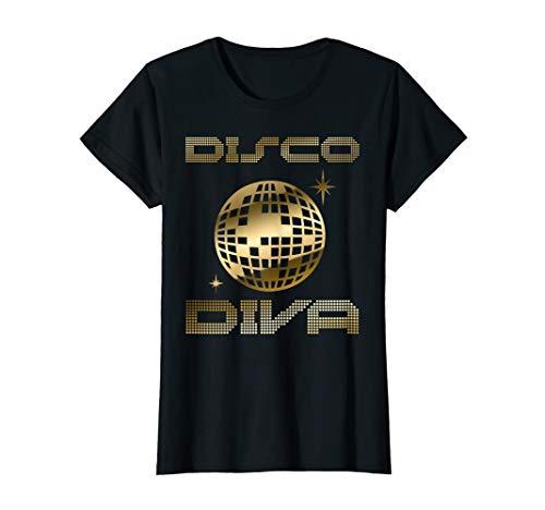 Kostüm Diva 80's - Damen 80er Jahre TShirt Retro Motto Party Disco Diva Discokugel