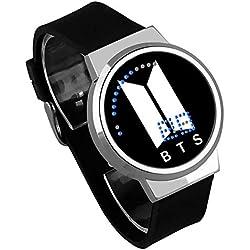 HuaDingTech BTS Reloj atlético Tiro Juego Noche luz Touch LED Creativo electrónico Estudiante Reloj para niños y niñas Pulsera Regalo de Recuerdo,Gold