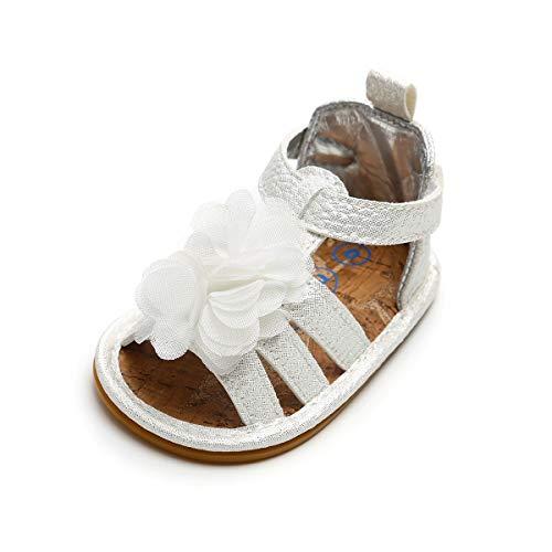 n Sommer Schuhe Kleinkind Rutschfest Gummisohle Blumen Sandalen Silber 0-3 Monate ()