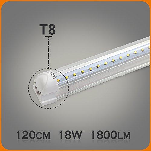 OUBO 120cm LED Leuchtstoffröhre komplett Set mit Fassung kaltweiss 6500K 18W 1900lm Lichtleiste T8 Tube mit klarer Deck