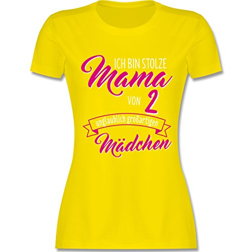 Muttertag - Ich bin stolze Mama von 2 unglaublich großartigen Mädchen - tailliertes Premium T-Shirt mit Rundhalsausschnitt für Damen Lemon Gelb