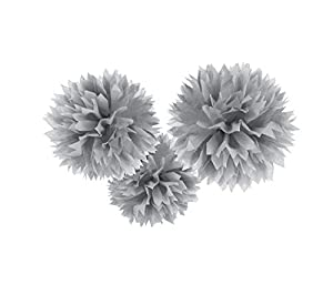 Amscan International - 18055 - 18 - 55 40 cm plata Fluffy Pom Pom Decoración Kit