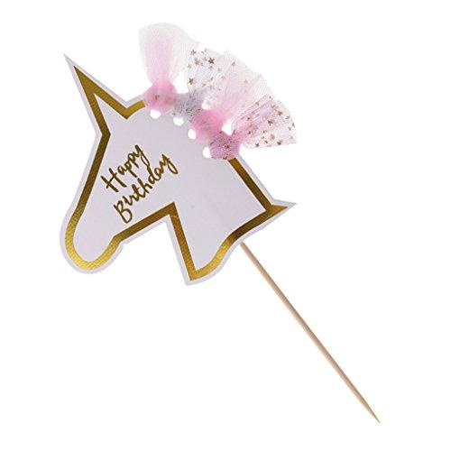 MagiDeal Cake Topper, Einhorn Form, Tortenstecker, Tortenfigur Geburtstags Baby Taufe Party Dekor - Rosa (Essbare Cake Topper Taufe)