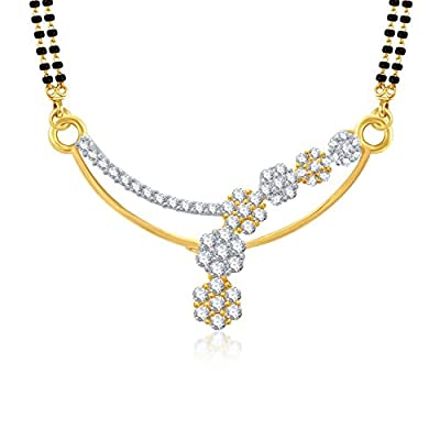 VK Jewels Blossom Flowers Gold And Rhodium Plated Alloy Mangalsutra set with Earrings for Women made with Cubic Zirconia-MP1046G [VKMP1046G]
