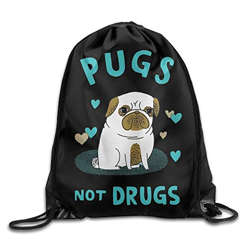 WSTREE Pugs Not Drugs Cute Pug Cool Drawstring Backpack String Bag -