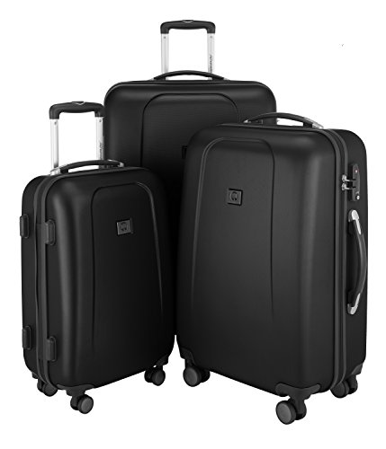 HAUPTSTADTKOFFER - Wedding - Set di 3 Valigie Trolley rigido TSA 4 ruote ABS, (S, M, L), Nero