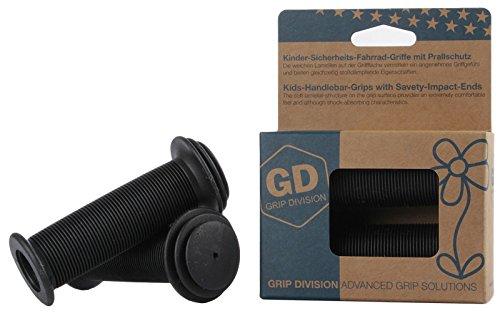 GD Grip Division® Sicherheits Kinderfahrradgriffe mit Prallschutz | Phthalate frei | schwarz