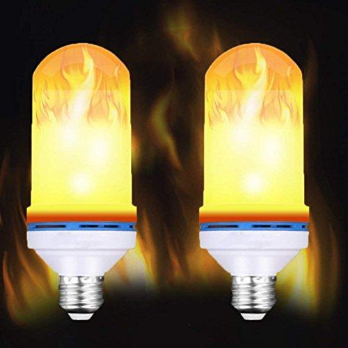 Galleria fotografica Q&M (2 Pacchi) LED Flame Lampadine Fuoco Decorativo Effetto Tremolante, 108 Pezzi 2835 Fiammifero Simulato Decor Atmosphere Lighting Per Bar, Patio, Festival