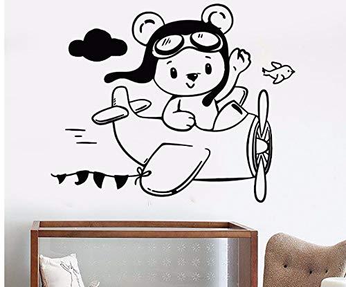 ZJMIQT Wenig Teddybär Aviator Ebene Wand Aufkleber für Kinderzimmer wasserdicht Art Aufkleber Wandbild