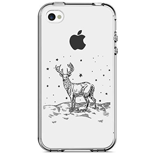 MoreChioce kompatibel mit iPhone 4S Hülle,kompatibel mit iPhone 4 Handyhülle, Durchsichtig Silikon Etui Christmas Weihnachten Schneeflocke Hirsch Muster TPU Gel Bumper,Elk Stern,EINWEG - 4s Gel