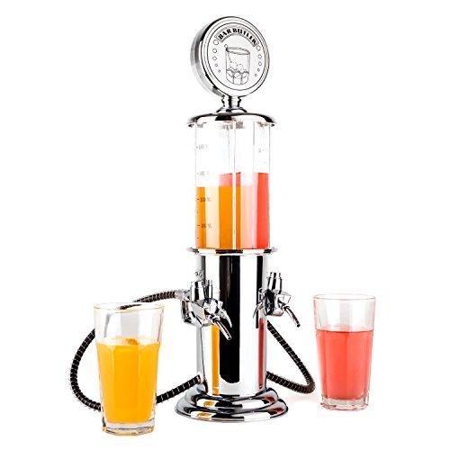 OneConcept Hazlehov Duett - Getränkespender, Bar Butler, für alkoholische und alkoholfreie Getränke, 2 x 450 ml, Zapfsäulenoptik, mit Schläuchen und Zafpfhähnen, Silber