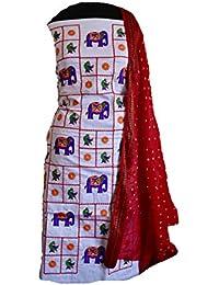 67fcebabca0 KATHIWALAS Women s Cotton Silk Kutch Work Bandhani Bandhej Unstitched Dress  Material Suit (WHITE RED
