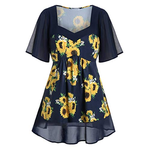 Andouy Damen Mode Sonnenblumen Gedruckt Shirt Lässiger V-Ausschnitt Kurzarm Übergroß Lang Tops(4XL(50.Marine -