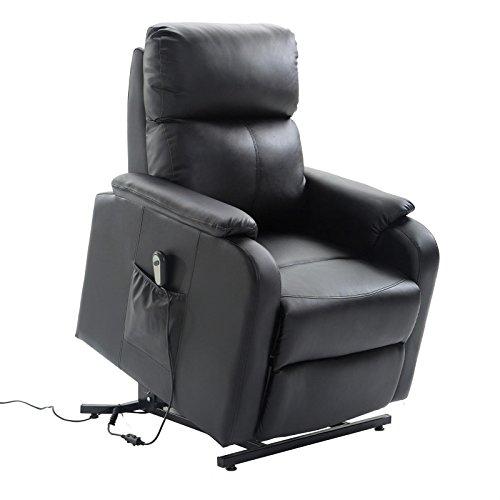 CARO-Möbel Relaxsessel Senior Fernsehsessel Ruhe TV Sessel mit elektrischer Aufstehfunktion, verstellbare Rückenlehne und Fußteil schwarz